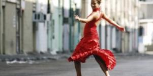 Woman dancing in the street