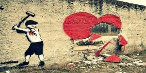 smashed heart street art