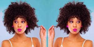 woman twisting curly hair