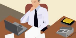 man at desk cartoon