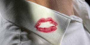 lipstick on lapel