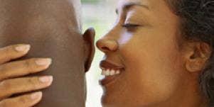 Couple caressing, whispering