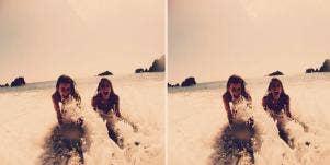 happy girls swimming