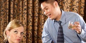 man talking at woman