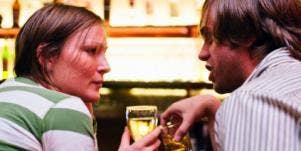 whiskey drinking couple
