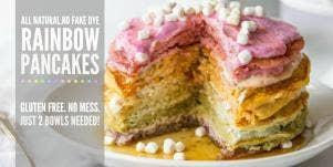 All Natural Rainbow Pancake Cake